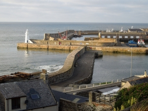 Photograph of Macduff Harbour and lighthouse