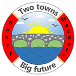 Banff & Macduff site logo, shows a drawing of a bridge with the sun rising over it, inside a ring with the words 'Banff and Macduff, two towns, big future'