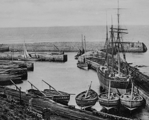 Black and White photograph of Banff Harbour