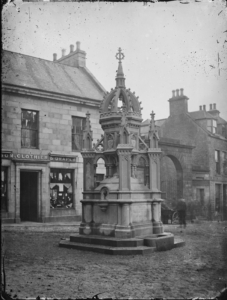 Black and White Photograph of Biggar fountain Banff