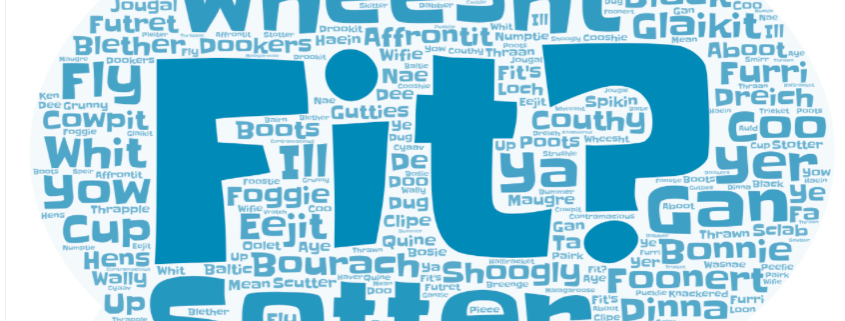 Word cloud in the shape of a speech bubble showing Doric words and phrases.