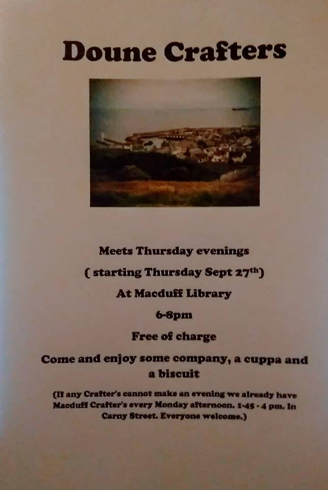A poster showing an image of Macduff and detailing the event times for Doune Crafters at Macduff Library