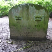 Colour image of gravestone with three dogs names and moulded crowns