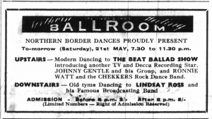 Advert for Johnny Gentle and the Silver Beatles