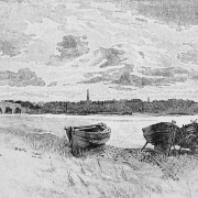 Greyscale sketch showing Banff from the Macduff shoreline with the five arched Banff Bridge to the left