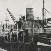 Black and white photo of Macduff's third Lighthouse.