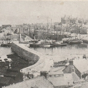 Black and white photo of Macduff harbour