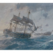 Colour image of a painting showing a three master two decked ship of the line