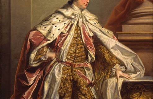 Colour photo of James Duff dressed in his road cloak and fur.
