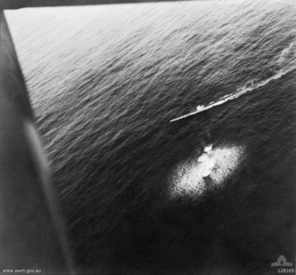 Black and white image of the actual bombing of the U26