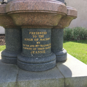 Detail of the Bodie Fountain showing the inscription: Presented to the Burgh of Macduff by Doctor and Mrs Walford Bodie in memory of their daughter Jeannie