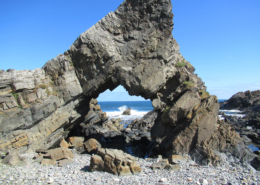 A view of Tarlair Bay near Macduff, seen through a natural stone arch, this is where Lord Byron learned to swim