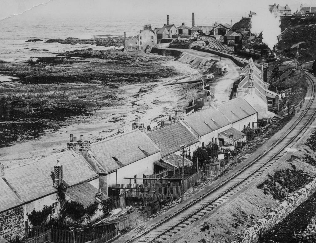 Black and White photograph of Banff Harbour railway station