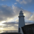 Image of Macduff lighthouse against a background of clouds