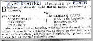 Advert for Isaac Cooper fiddler