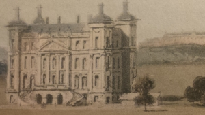 Lightly coloured picture of Duff House from SSE