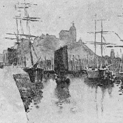 Greyscale drawing of Macduff harbour showing three large sailing cargo vessels, with the church on the hill