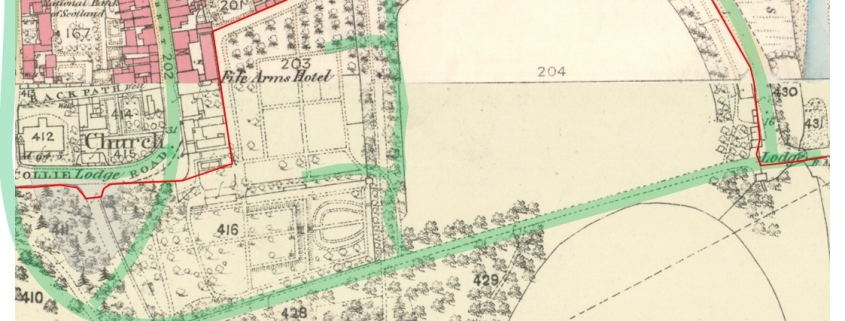 Partly coloured map showing the detailed layout of the original Duff House gardens, overlaid with a transparent current day road layout
