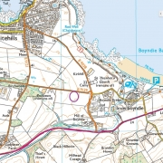 A map showing the site of the Souterrain near Inverboyndie with a purple circle.