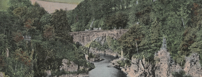 Colour photo showing bridge over the Craigs of Alvah gorge