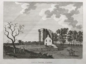 A black and white print of Inchdrewer Castle