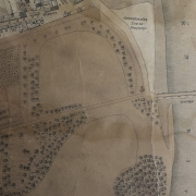 Sepia photo of map showing Banff Bridge to Low St