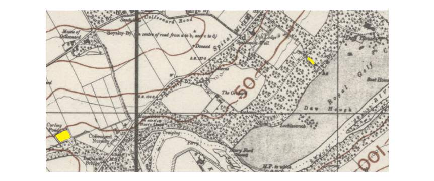 Colleonard and Duff House curling ponds shown in yellow 1940
