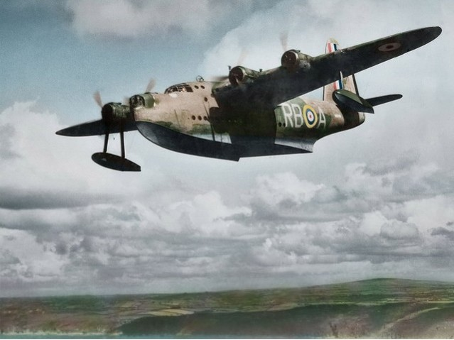 Colour photo of flying boat in air