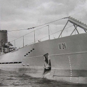 Greyscale image of U-boat, taken from starboard bow