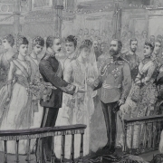 Greyscale image of the wedding ceremony