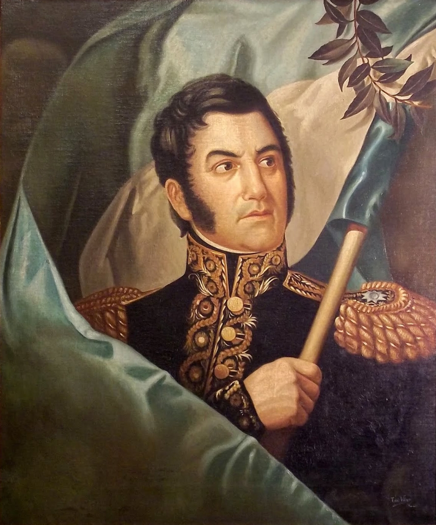 Colour photo of a distinguished General holding an Argentine flag
