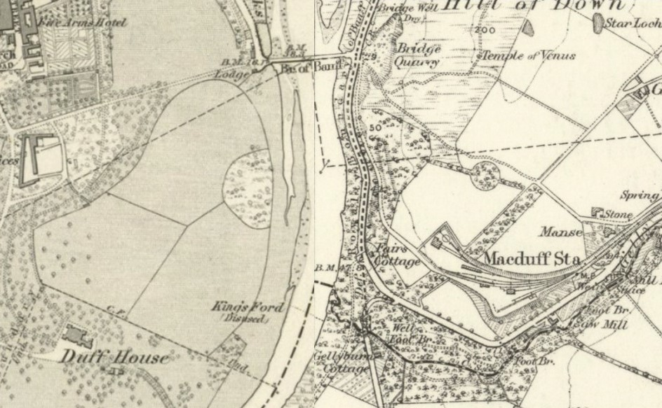 Black and white image of a map with the River Deveron running north to south down the middle.