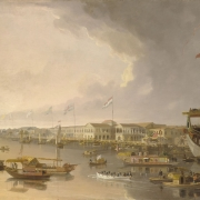 Photo of colour painting showing one large sailing ship, junks and all sorts of small craft in front of warehouses with international flags flying