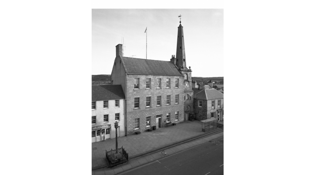 Black and white 1950s photo of Banff Townhouse