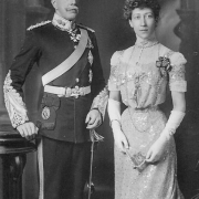 Black and white photo of the Duke in uniform and the Princess Louise