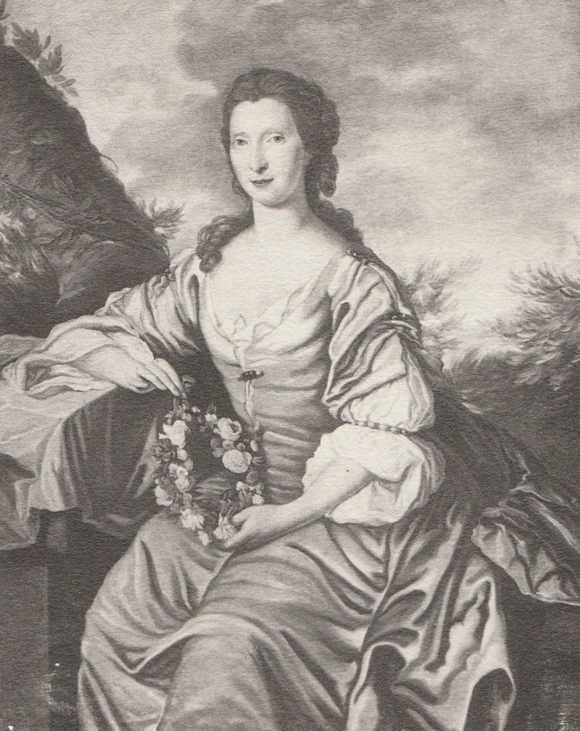 Black and white image of a colour painting of a sitting lady holding some flowers