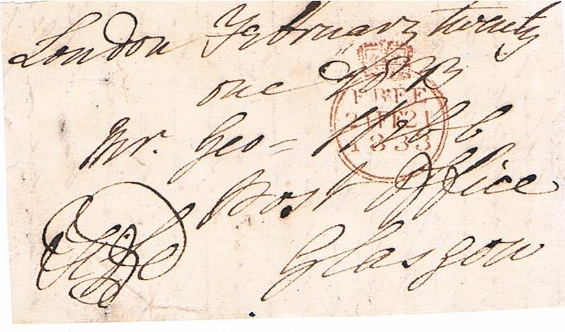 Black and white image of hand written address with Earl Fife signature and Free Frank stamp
