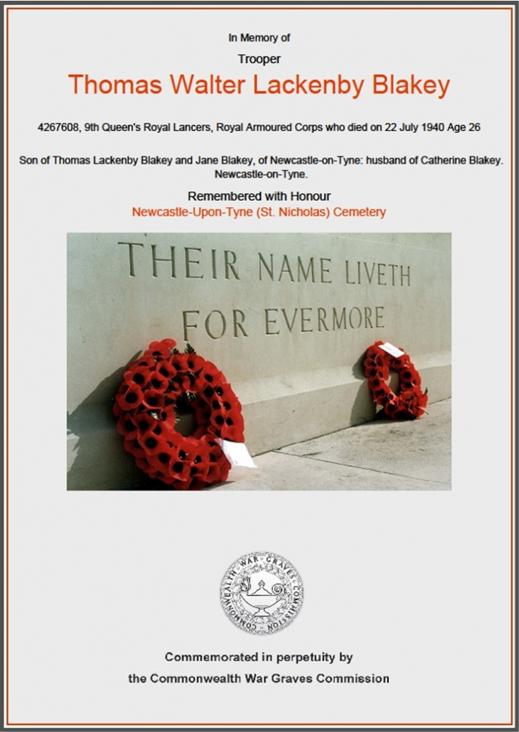 Colour copy of the Commonwealth War Graves Commission card for Thomas Blakey