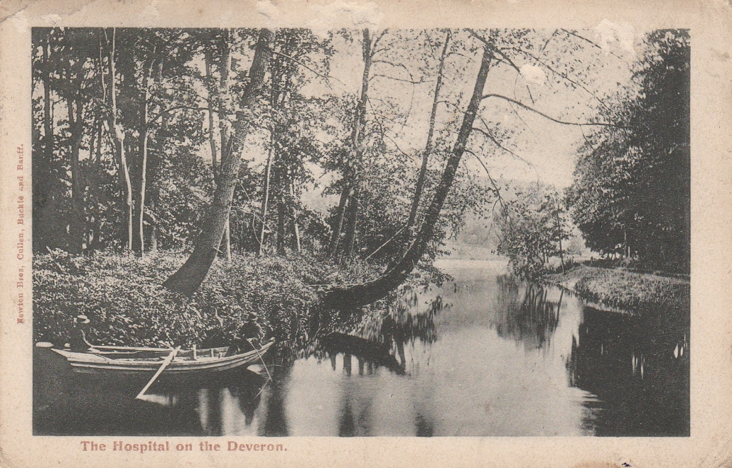 Black and white image of a boat on a river channel
