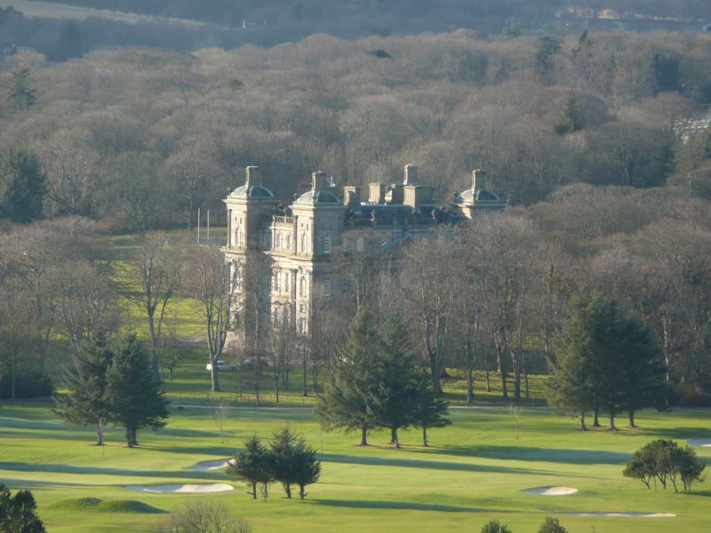 Colour photo of Duff House surrounded by woodland